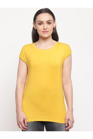 Pepe Jeans Women Yellow Solid Round Neck T-shirt