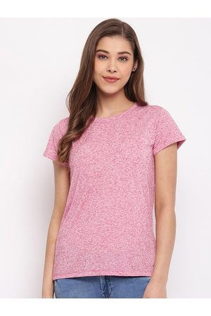 Pepe Jeans Women Pink Solid Round Neck T-shirt