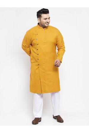 Pluss Men Mustard Yellow & White Solid Kurta with Pyjamas
