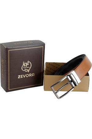 ZEVORA Men Tan Brown & Black Solid Reversible Belt