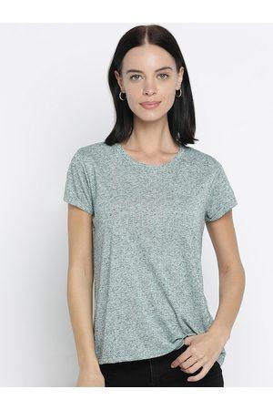 Pepe Jeans Women Green Self Design Round Neck T-shirt