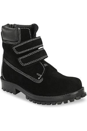 CARLO ROMANO Unisex Kids Black Solid Suede Mid-Top Trekking Shoes