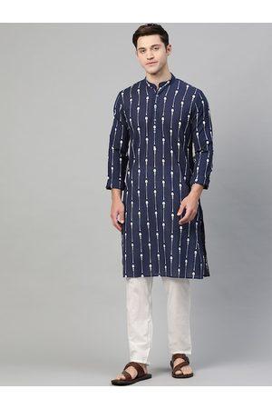 See Designs Men Navy Blue & White Printed Kurta with Pyjamas