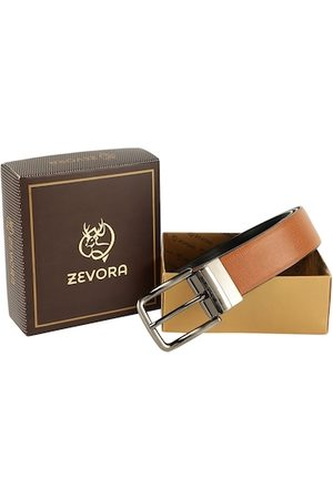 ZEVORA Men Tan & Black Textured Belt