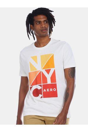 Aeropostale Men White Printed Round Neck T-shirt