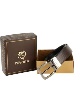ZEVORA Men Brown & Black Textured Belt