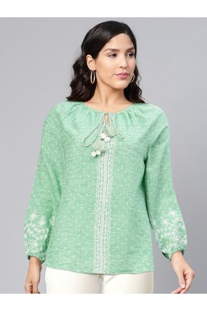 Global Desi Green & White Self-Design Tie-Up Neck Puff Sleeves Regular Top with Embroidery