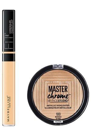 Maybelline Set of Fit Me Concealer & Master Chrome by FaceStudio Metallic Highlighter