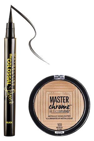 Maybelline Set of The Colossal Eye Liner & Master Chrome FaceStudio Metallic Highlighter