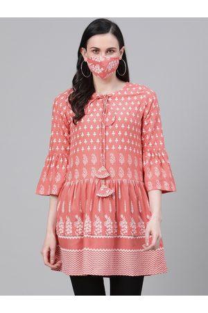 Yash Gallery Women Peach-Coloured & White Ethnic Motifs Print Kurti with Matching Mask