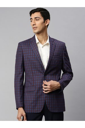 Raymond Weil Men Blue & Maroon Checked Single-Breasted Standard Contemporary Fit Formal Blazer