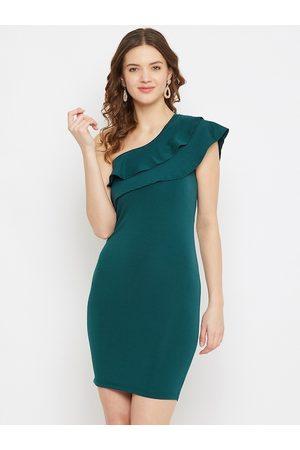 U&F Women Green Solid One Shoulder Bodycon Dress