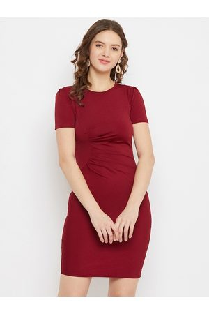 U&F Women Maroon Solid Bodycon Dress