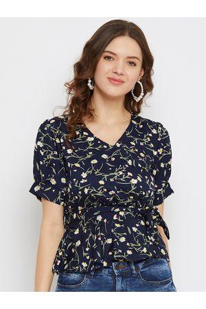U&F Women Navy Blue Floral Printed Puff Sleeves Crepe Cinched Waist Top