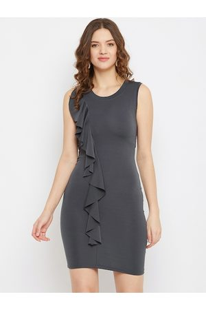 U&F Women Grey Solid Bodycon Dress