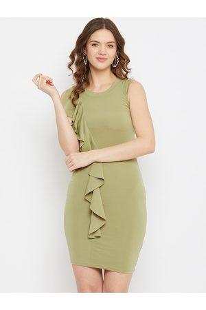 U&F Women Green Solid Bodycon Dress