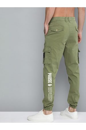 HERE&NOW Men Olive Green Regular Fit Solid Joggers With Printed Detailing