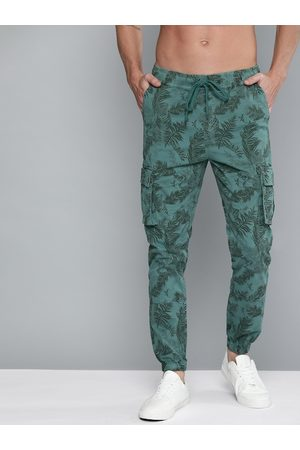 HERE&NOW Men Teal Green Regular Fit Camouflage Printed Joggers