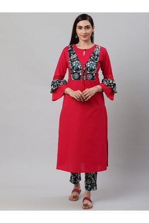 Yash Gallery Women Red & Black Printed Yoke Design Kurta with Trousers