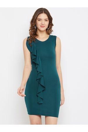U&F Women Green Solid Ruffled Bodycon Dress