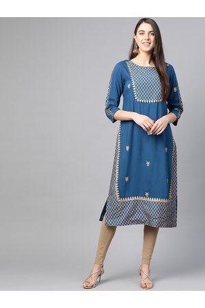Yash Gallery Women Teal Blue & Golden Printed Straight Kurta