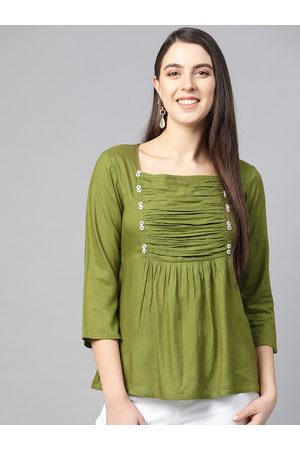 Yash Gallery Women Olive Green Pleated A-Line Top