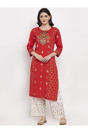 Anaisa Women Red & Gold-Toned Printed A-Line Kurta