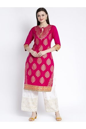 Anaisa Women Pink Printed Straight Kurta