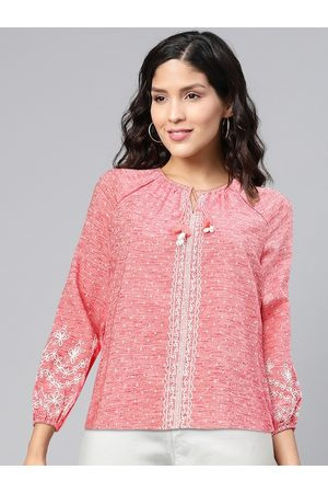 Global Desi Pink & White Self-Design Tie-Up Neck Puff Sleeves Regular Top with Embroidery