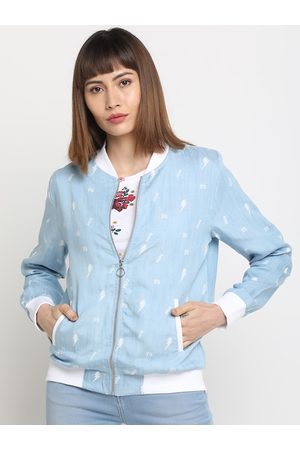 Pepe Jeans Women Blue Printed Bomber