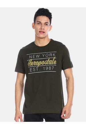 Aeropostale Men Olive Green Printed Round Neck T-shirt