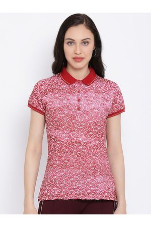 Monte Carlo Women Red Printed Polo Collar T-shirt