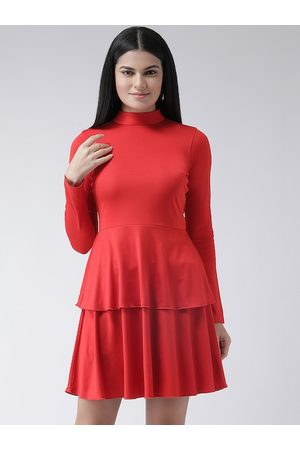 Texco Women Red Solid Fit and Flare Tiered Dress