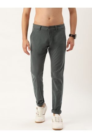 Flying Machine Men Charcoal Grey Super Slim Fit Solid Chinos