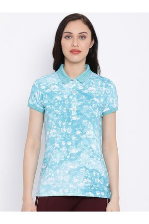 Monte Carlo Women Blue & White Floral Printed Polo Collar T-shirt