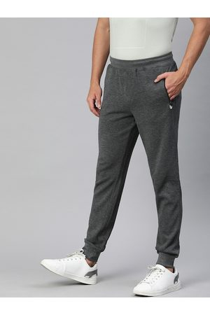 Indian Terrain Men Charcoal Grey Straight Fit Solid Joggers