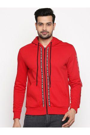 PEOPLE Men Red Solid Hooded Sweatshirt