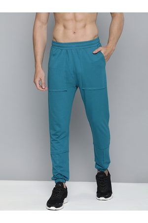 HRX Blue Sapphire Solid Slim Fit Solid Lifestyle Joggers