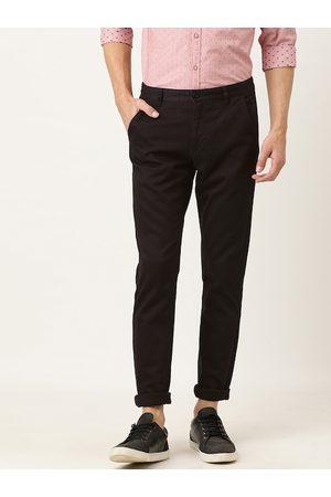 Flying Machine Men Coffee Brown Slim Fit Solid Regular Trousers