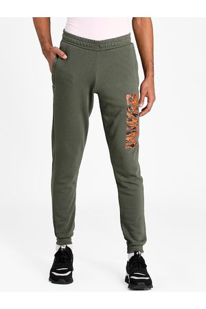 PUMA Men Olive Green Solid Straight-Fit Joggers