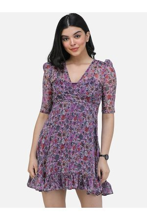 Scorpius Women Purple Printed Fit and Flare Dress