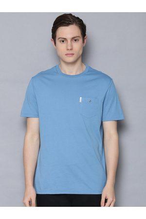 Ben Sherman Men Blue Solid Round Neck Organic Cotton T-shirt