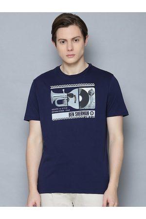 Ben Sherman Men Navy Blue & White Printed Round Neck Organic Cotton T-shirt