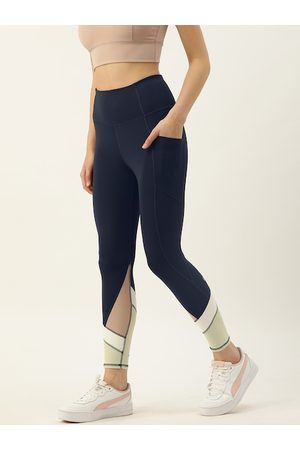ENAMORA Women Navy Blue & Off-White Colourblocked Dry Fit Athleisure E158 Active Tights