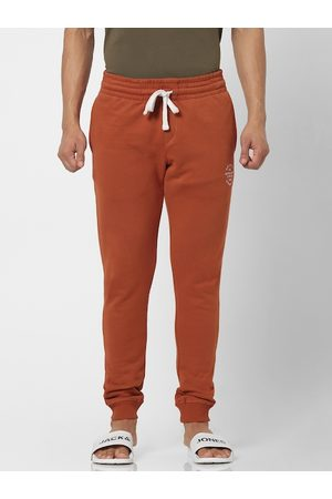 Jack & Jones Men Rust Brown Straight Fit Solid Joggers