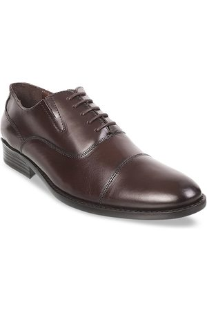 Metro Men Brown Solid Leather Formal Oxfords