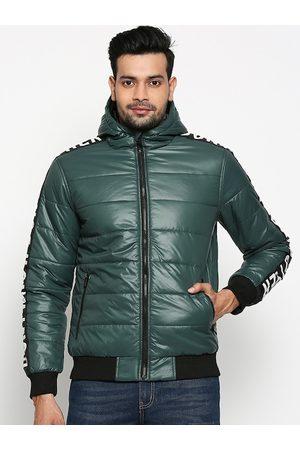 PEOPLE Men Jackets - Men Green Solid Puffer Jacket