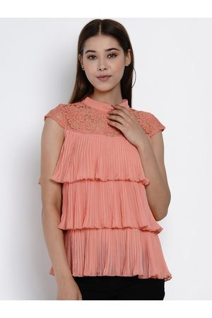Texco Women Coral Pink Solid Tiered Top