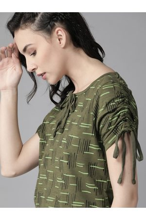 Roadster Olive Green Geometric Printed Tie-Up Neck Pure Cotton Top