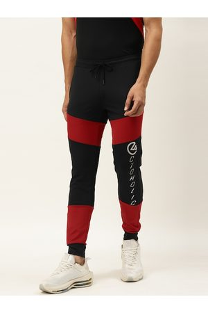 ACTOHOLIC Men Black & Red Colourblocked Joggers